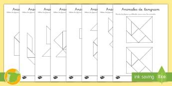 Fichas de actividad: Animales de 'Tangram' - mamíferos, recortar, pegar, mates, geometría, ,Australia