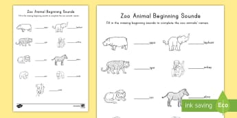 Zoo Animals Beginning Sounds Activity Sheet - Early Childhood Animals, Animals, Pre-K Animals, K4 Animals, 4K Animals, Preschool Zoo Animals, begi