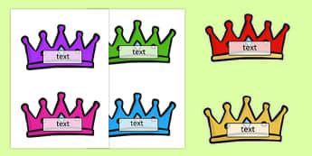 Editable Crown Name Tags - editable, crown, name, tags, name tags