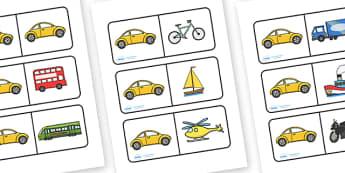 Transport Dominoes - Transport, domino, activity, game, matching, pair, car, van, lorry, bike, motorbike, plane, aeroplane, tractor, truck, bus