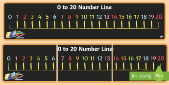 0 to 20 Number Line Display Banner - maths, display, board, large, twenty, zero, numbers, numeral, sequence, visual aid, ks1, ks2, key stage, numeracy, working wall