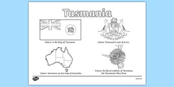 Tasmania Colouring Sheet - australia, colouring, flag, coat of arms, floral emblem, map, Australia, Art, Geography, states, territories