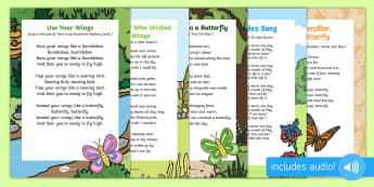 Songs and Rhymes Resource Pack to Support Teaching on The Crunching Munching Caterpillar - The Crunching Munching Caterpillar, Sheridan Cain, life cycle of a butterfly, lifecycle, action song