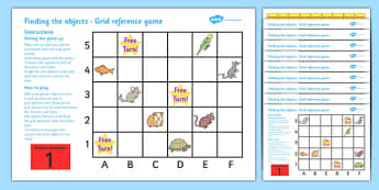 Grid References Game Set - coordinates game, set, game, coordinates, geography, coordinates game, finding the objects, fun, activity