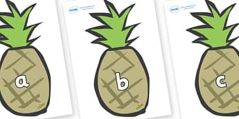 Phase 2 Phonemes on Pineapples - Phonemes, phoneme, Phase 2, Phase two, Foundation, Literacy, Letters and Sounds, DfES, display