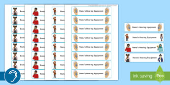 Student's Hearing Equipment Labels - hearing equipment, teacher of the deaf, deaf student, student labels, deaf unit, hearing impaired