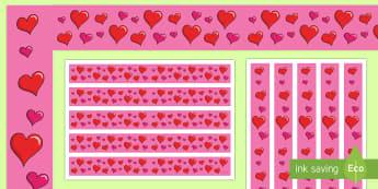 Valentine's Day Display Borders - Valentines, display, Valentine's, Valentine's Day, border, hearts