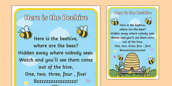 Here is the Beehive Nursery Rhyme Poster - rhymes, poem, display
