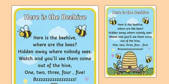 Here is the Beehive Nursery Rhyme Poster - rhymes, poem, display
