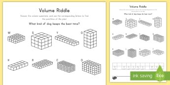 Volume Riddle Activity Sheet - volume, cube, cubic, rectangular prism, height, length, width