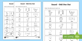 Sounds Odd One Out Differentiated Activity Sheet - ACSSU020, ACSIS027, hearing, science sound, sound energy, loud,Australia, Worksheet