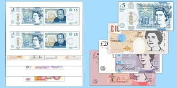 Maths Intervention Realistic Size Banknotes - SEN, special needs, maths, money, counting money, recognising money, adding money, coins, notes