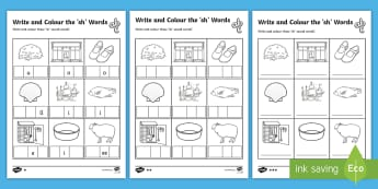 Write and Colour the 'sh' Words Activity Sheets - Phonics activity, phase 3, letters and sounds, sh sound, find the sound, sort the pictures, write th