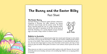 The Easter Bunny and the Easter Bilby Fact Sheet - australia, Easter Bunny, Easter Bilby, Easter, Australia, native animals, introduced species, feral animals, fact sheet, factsheet, information sheet, reading comprehension