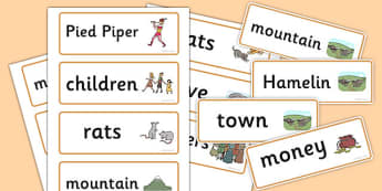The Pied Piper Word Cards - Pied Piper, story, children, rats, Hamelin, pipes, word card, flashcards, cards, cats, cave, villagers, mountain, town, money, story book
