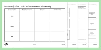 Properties of Solids, Liquids and Gases Cut and Stick Activity Sheet, worksheet, plenary activity