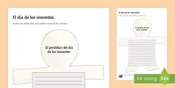 April Fools' Day News Writing Template Spanish - april, fools, day, fake, news, writing, template, creative, worksheet, activity, sheet