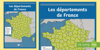 Poster format A2 : Les départements de France - Cartes géographiques, map, cycle 2, cycle 3,  KS2, départements, France, departments, poster, disp