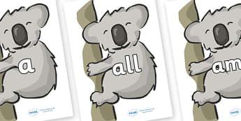 Foundation Stage 2 Keywords on Koalas - FS2, CLL, keywords, Communication language and literacy,  Display, Key words, high frequency words, foundation stage literacy, DfES Letters and Sounds, Letters and Sounds, spelling