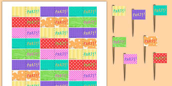Birthday Party Toothpick Flags - birthday party, birthday, party, toothpick flags