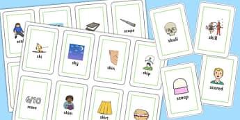 SC, SK Flash Cards - sc, sk, sound, flashcards, flash cards, sen