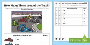 How Many Times around the Track Three Times Table Activity Sheet - Multiplication, Grand Prix, Formula One, Singapore, Motor Racing, worksheet