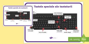 Tastele speciale ale tastaturii - Planșă - informatică, română, tastatură, it, computer, calculator, materiale, planse, Romanian
