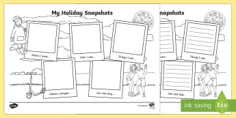 My Holiday Snapshots Writing Frames - End of Year/Back to School Australia, Summer Holiday Snapshots  Writing Frames, writing frame, liter