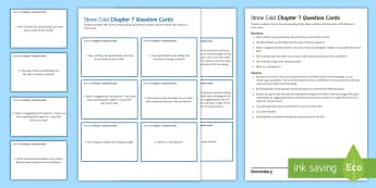 Chapter 7 Question Cards to Support Teaching on 'Stone Cold' by Robert Swindells - Swindells, Comprehension, Shelter, Link, Assess, shelter
