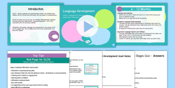 SLCN - Language Development INSET PowerPoint Pack - inset pack, SLCN, speech and language, milestones, SENCO, SLT, SALT, speech, language