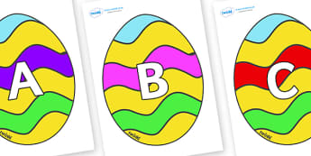 A-Z Alphabet on Easter Eggs (Striped) - A-Z, A4, display, Alphabet frieze, Display letters, Letter posters, A-Z letters, Alphabet flashcards
