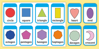 2D Shape Flashcards (inc. Shape Names) - 2D Shape names, Shape Flashcards, Shape Pictures, Shape Words, 2D flashcards, numeracy, geometry, shapes, 2d, flashcards