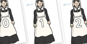 Numbers 0-50 on Florence Nightingale - 0-50, foundation stage numeracy, Number recognition, Number flashcards, counting, number frieze, Display numbers, number posters