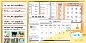PlanIt Y5 Term 2A Bumper Spelling Pack - Spellings Year 5, spellings, weekly, bumper, pack, assessment, dictation, list, SPaG, GPS, Mr Whoops