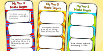 2014 Curriculum Year 3 Maths Target Bookmarks - numeracy, ks2