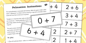 Pelmanism Addition Facts Game to 10 - maths, memory, game, add
