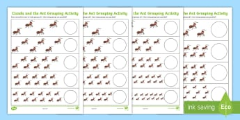 Cicada and the Ant Differentiated Number Activity Sheet - Traditional Thai Tales, ants, counting, half, 2s, division
