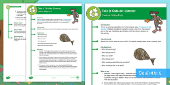 KS1  Take It Outside: Summer Willow Fish Activity - outdoor, learning, forest school, natural, craft, treasures in the garden, outdoor, woodland learning, twinkl outdoor and woodland learning owl get it