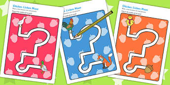 Chicken Licken Pencil Control Path Worksheets - fine motor skills