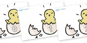 Numbers 0-50 on Hatching Chicks - 0-50, foundation stage numeracy, Number recognition, Number flashcards, counting, number frieze, Display numbers, number posters