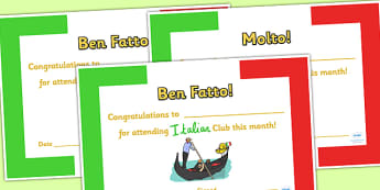 Italian Club Certificates - italian club, certificates, reward, award, reward certificates, certificate template, behaviour management, class management