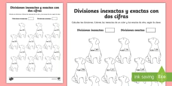 Ficha de actividad: Colorear por divisiones inexactas y exactas con dos cifras - perros - dividir, división, repartir, cifras, divide, division, sharing, figures, digits, escrito, escrita,