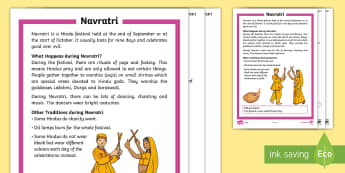 KS1 Navratri  Differentiated Comprehension Go Respond Activity Sheets - interactive, digital, Durga Puja, Hinduism, Hindus, Festivals, Celebrations.