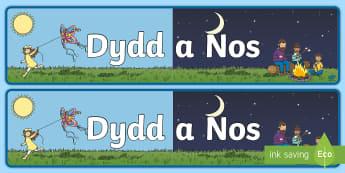 Baner Dydd a Nos  Baner Arddangosfa - Baner Dydd a Nos  Baner Arddangosfa,Welsh,Welsh