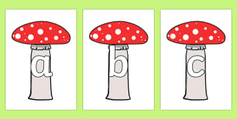 A-Z Alphabet on Toadstools - letters, display, woodland, forest, magical, fungi, mushrooms, upper case, lower case, words, display, ks1, eyfs