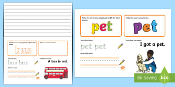 Phase 2 CVC Words Make Read Write Activity Mats - EYFS, Early Years, Phonics Make, Read and Write Activity Mats, Letters and Sounds, Phase 2, letter s