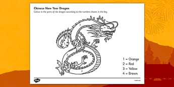 Australia Number Colouring Chinese Dragon - colouring, sheets, fine motor skills, colour by numbers