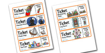 Theme Park Role Play Tickets - theme park, role play, tickets, theme park tickets, role play tickets, theme park role role, tickets for theme park