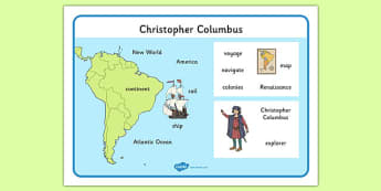 Christopher Columbus Word Mat - christopher columbus, word mat, topic words, topic mat, themed word mat, writing aid, mat of words, key words, keywords