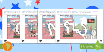Independence Day Pencil Control Path US English/Spanish (Latin) - Independence Day Pencil Control Path - independence day, path, pencilcontrol, 4th july, spanish, eal